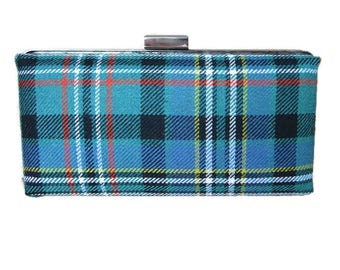 Clan Scott Tartan Clutch Bag in Green Ancient Colours / Purse Made in Scotland and Ready to Ship