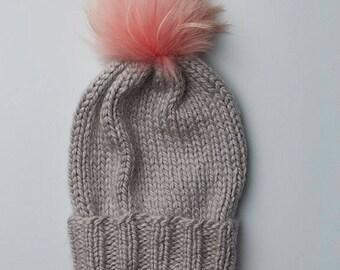 Pewter Wooly Hat w. Fur POM POM