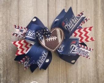 New England Patriots Hair Bow or Bow & Headband Set with Football Heart Feltie Center
