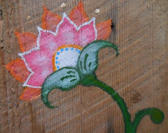 folk flower, original painting