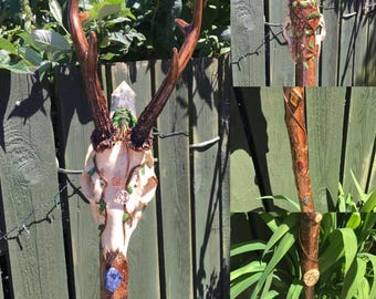Green Man Deer Skull and Antlers Staff/hiking staff/wizard staff