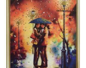 Diamond Painting kit DIY Rain for two Rhinestone Crystal Diamond Embroidery kit Picture with rhinestones kit Wall decor Home decor