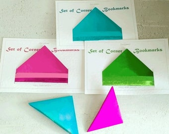 Corner Bookmarks - origami - paper bookmarks, lightweight, useful, practical, colourful