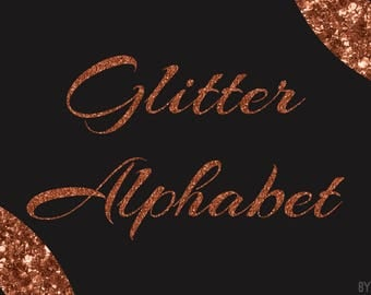 Copper Glitter Alphabet Clipart 81 Images PNG Files Letters Numbers Special Characters Commercial Use Graphics Digital Clip Art