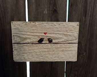 Love birds on wire, pebble art, rustic home decor, farmhouse, gift, repurposed wood ,fence, family, housewarming, wedding gift,