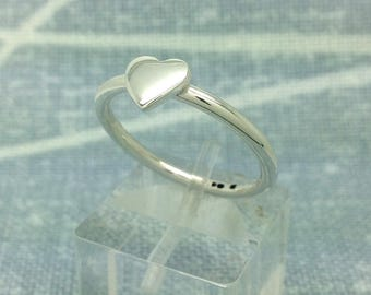 Heart stacking ring, silver, handmade, gift boxed, free post. Size P.5 can be made to your size