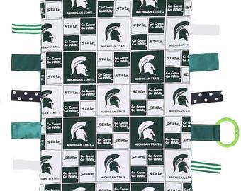 Michigan State Spartan Baby Sensory Tag Lovey Blanket