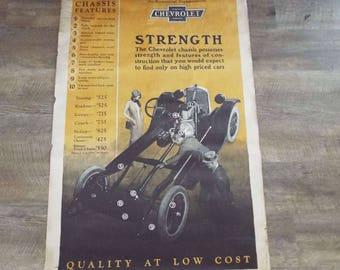 Rare Vintage 1920's Chevrolet Dealership Advertising Poster  GM Chevy Automobilia Transportation