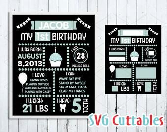 Birthday chalkboard svg, First Birthday svg, Birthday cut file, svg, dxf, eps, birthday stats, Silhouette, Cricut cut file, Digital download