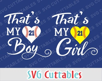 Baseball svg, Softball svg, dxf, eps, That's my boy, That's my girl, Silhouette, Cricut Cut file, Baseball heart, Digital download