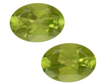 Hebei Peridot Loose Gemstones Set of 2 Oval Cut 1A Quality 7x5mm TGW 1.40 cts.