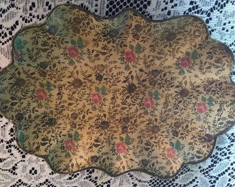 Vintage * Scalloped Paper Mache Tole Tray * Rose Flower