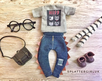 Blythe boy / unisex outfit -  t-shirt, pants and scarf set