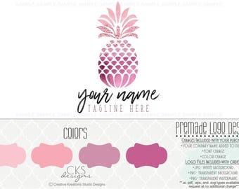 Premade Logo & Watermark Pink Logo Pineapple Logo Fruit Logo Food Logo Watercolor Logo