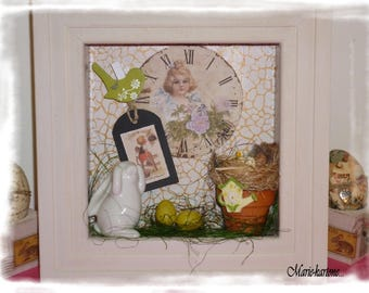 """Rustic frame ' the White Rabbit"" decorative frame with rabbit, nest, eggs, pot of flowers and tag."