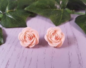 Flower Resin Button Stud Earrings Surgical Steel