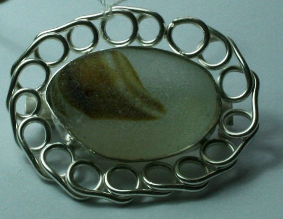 SEAGLASS MULTI BROOCH - Brown, set in Sterling Silver