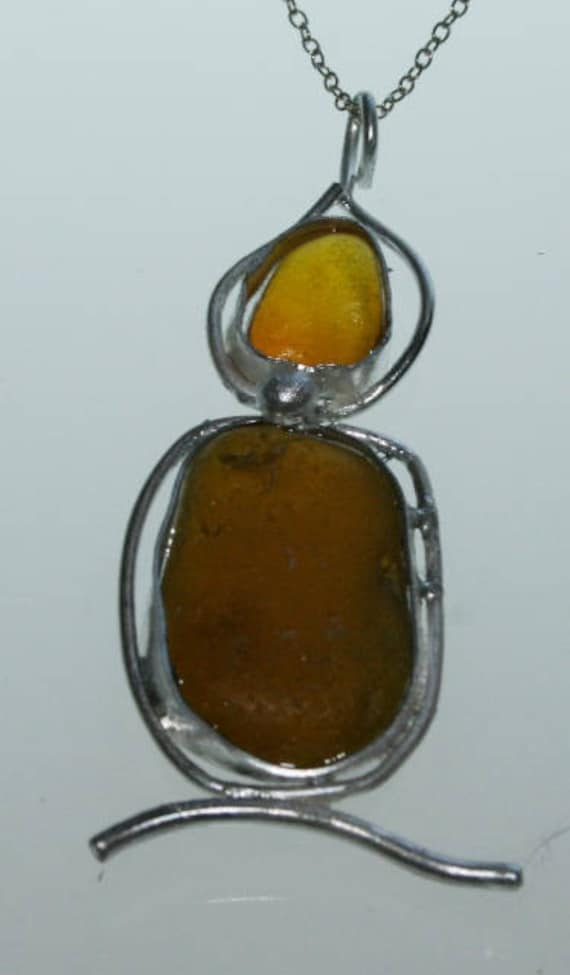 CANDLE SEAGLASS PENDANT - set in Sterling silver