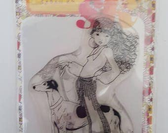 Marguerite taking Ruben for a walk clear stamp