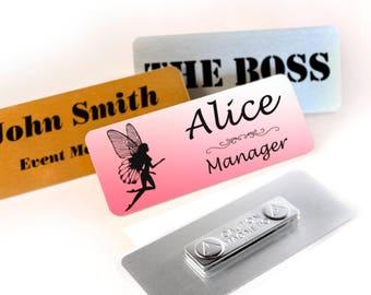Personalised Metal Name Badge With Magnet Fastening