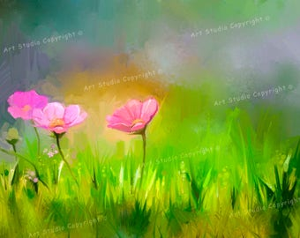 """Grass Field Wild Flowers Contemporary Art Giclee, Canvas With Acrylic Gallery Wrap Ready To Hang Up To Size 42X28X1.5"""""""
