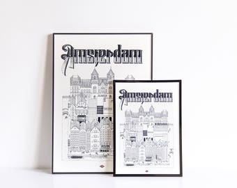 Illustration of Amsterdam - series * Travel With Me *. Black and white. 32x45cm