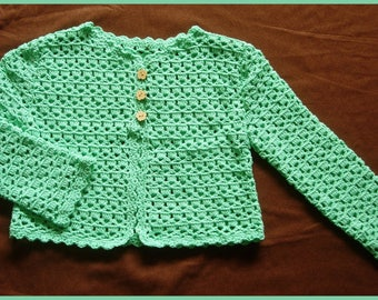Green long sleeved crocheted 4t