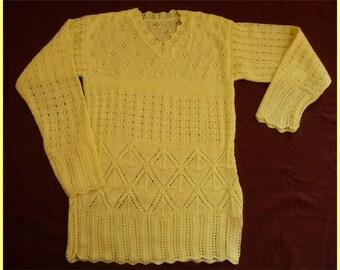 Openwork straw yellow sweater - size 36/38
