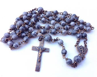 Bronze Catholic Rosary made with grey crazy lace agate beads, Traditional rosary, Five decade rosary, Confirmation gift, Gemstone rosary