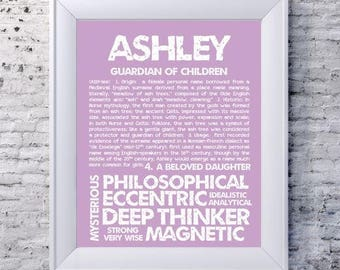 ASHLEY Personalized Name Print Typography Detailed Definitions Numerology Calculated Destiny