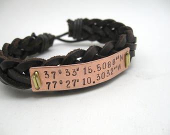 coordinate bracelet mens, engraved bracelet, boyfriend bracelet, engraved leather bracelet, Mens bracelet, mens bracelet, longitude boys