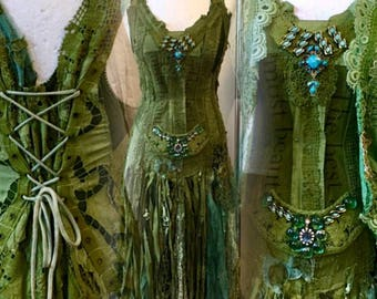Boho wedding forest green,Gypsy wedding green,hippie wedding green,unique wedding dress,vibrant green dress, tattered wedding dress,rawrags