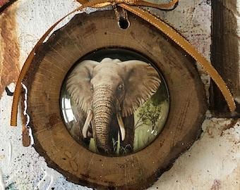 Elephant ornament, Unique ornament, anelephant art print, Christmas ornament, home decor, wildlife, African elephant, wood and cabochon