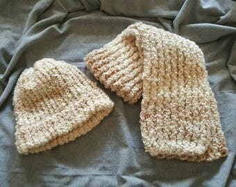Chunky, Double thick, knitted winter hat and scarf set / hat and scarf set/ made and ready to ship