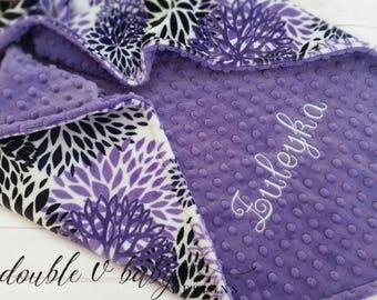 Personalized Baby Blanket, Purple Baby Blanket, Girl Baby Blanket, Stroller Blanket, Blanket with Name, Girl Minky Blanket, Girl Lovey