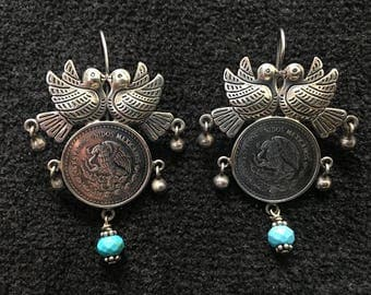 Earrings ~  Oaxacan Sterling Silver and Turquoise