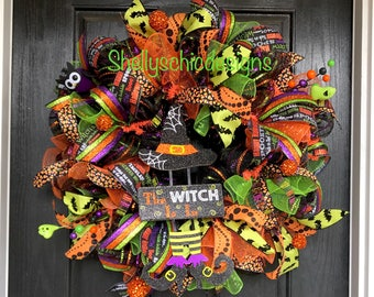 Witch wreath,Wicked Witch Wreath, Halloween deco mesh wreath,Halloween wreath,Witch Halloween wreath, The witch is in