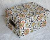 Tri-Coastal Paper Box, Green and gray pettern, cardboard box, office organizer