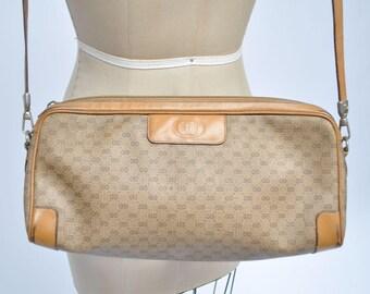 vintage GUCCI bag leather PURSE 1980s handbag tote monogram 80s designer