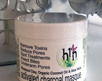 Activated Charcoal Facial Mask, Charcoal Mask, Large Pores, Acne Mask, Facial Mask, Detoxifying Mask, Clay Mask,