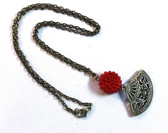 Chinese Fan Necklace Antique Brass Finish Pendant Necklace with Two-Sided Red Charm