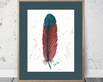 Feather Study Turquoise & Red