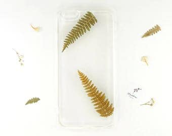 iPhone 6 Plus botanical phone case with real pressed ferns