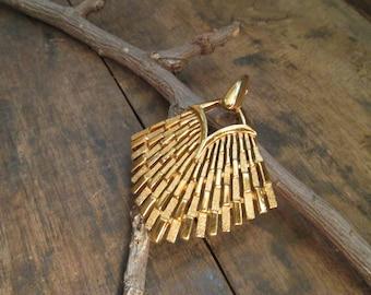 vintage crown trifari brushed and satin finish modernist pendant
