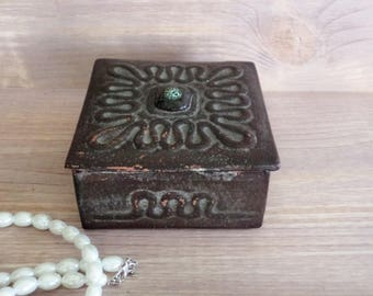 Vintage Leather Box Old Jewelry Box Square leather Box Keepsake Leather Box Brown Leather Box 70s Box