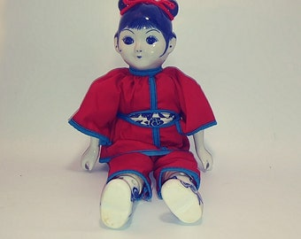 Vintage Traditional Chinese Doll Delft Style Blue and White Porcelain