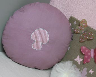 Cushion round purple and silver mushroom pattern