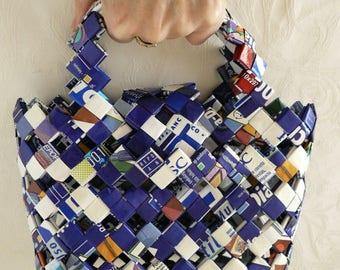 Blue woven paper handbag handmade recycled paper basket