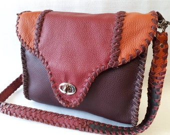 leather bag,dark red leather,shoulder bag, fancy bag,saddle bag,diversly red tones,hand made,unique,genuine leather,cow leather,extravagant