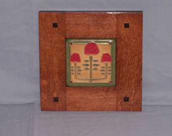 Framed Arts and Crafts Tile-Mission Style Frame-Long Stem Roses-Home Sweet Home